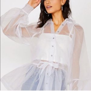 Sheer long sleeve oversized button up blouse